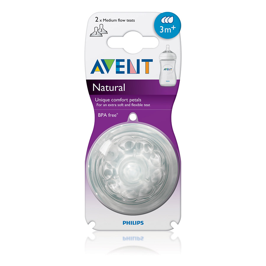 Philip Avent Natural Teat Fast Flow 2pk 6 months BPA Free Reduces Colic