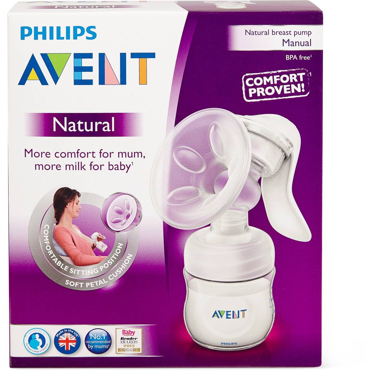 Philips Avent Comfort Manual Breast Pump Comfort Proven Soft Petal