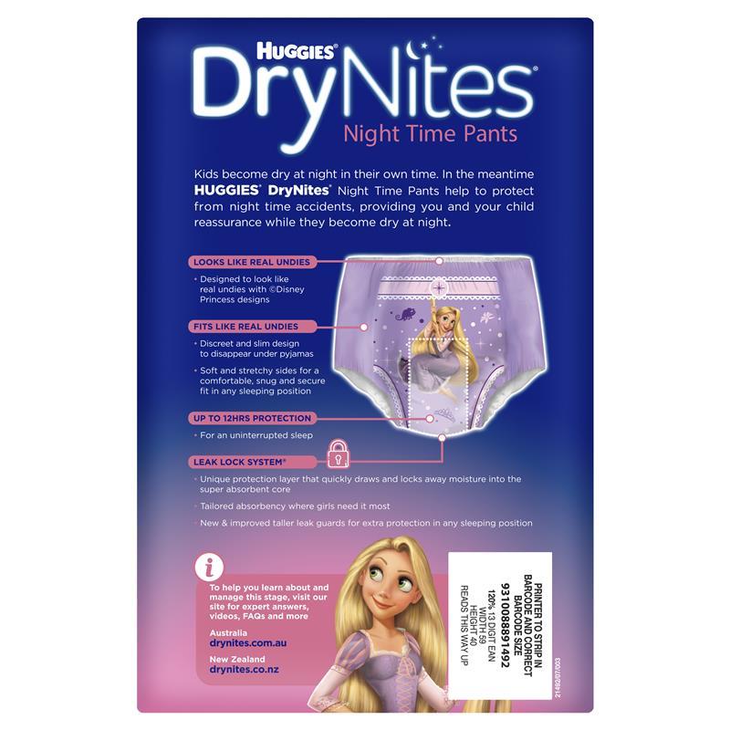 Huggies DryNites Girl 2-4 Years 11 Pack Snug Fit Leak Lock System