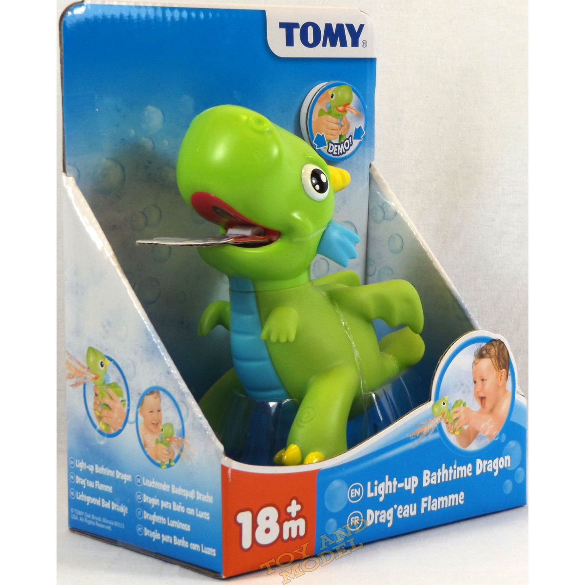 Tomy Bath Toys Light-Up Bathtime Dragon squeeze to squirt the light ...