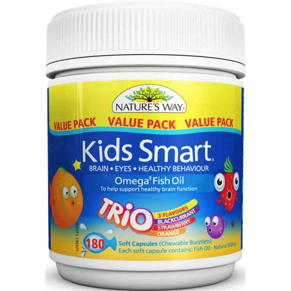 Nature 39 s way kids smart omega 3 fish oil trio 180 chewable for Chewable fish oil